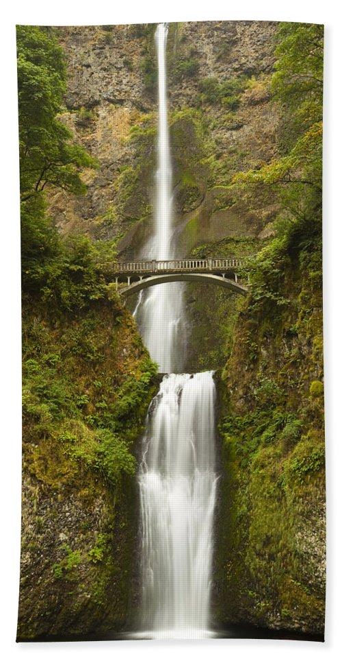 Water Beach Towel featuring the photograph Multnomah Falls 2 B by John Brueske