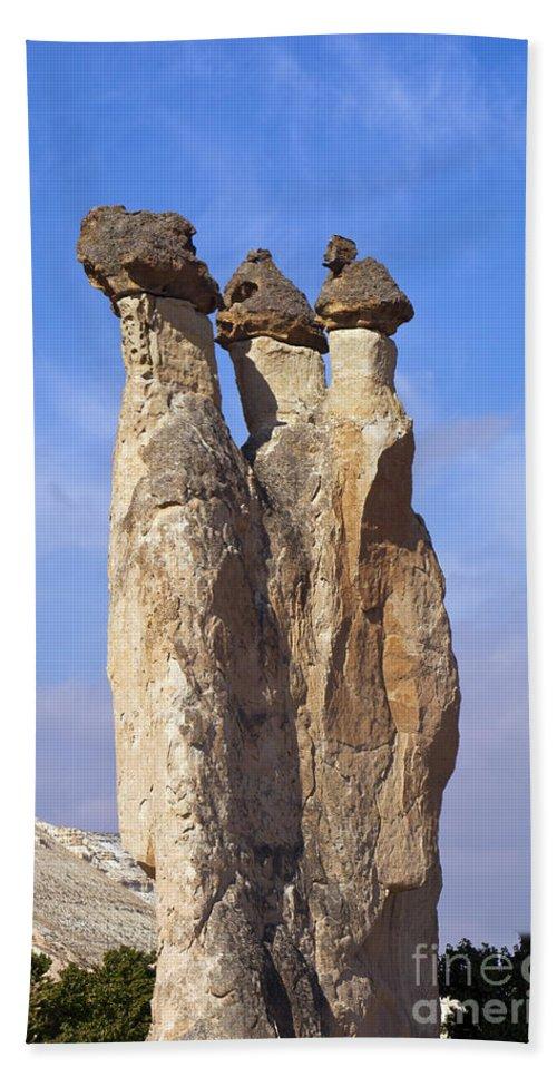 Pasabag Monks Valley Cappadocia Turkey Toadstool Hoodos Toadstools Mushrooms Mushroom Hoodoo Landscape Landscapes Fairy Chimney Chimneys Beach Towel featuring the photograph Mushroom Stems by Bob Phillips