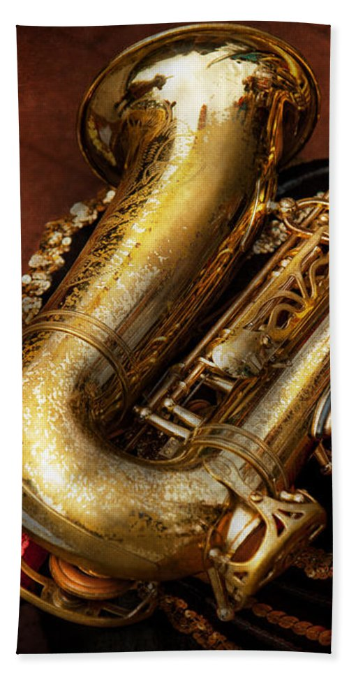 Hdr Beach Towel featuring the photograph Music - Brass - Saxophone by Mike Savad