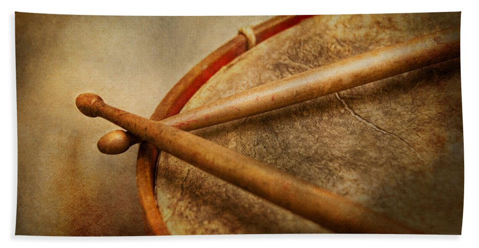 Hdr Beach Towel featuring the photograph Music - Drum - Cadence by Mike Savad