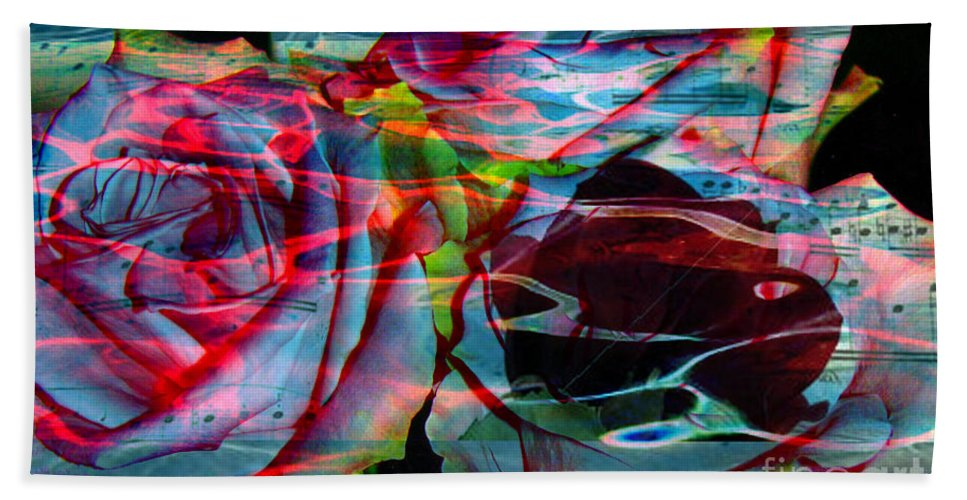 Rosese Digital Image Beach Towel featuring the digital art Music Of The Heart by Yael VanGruber