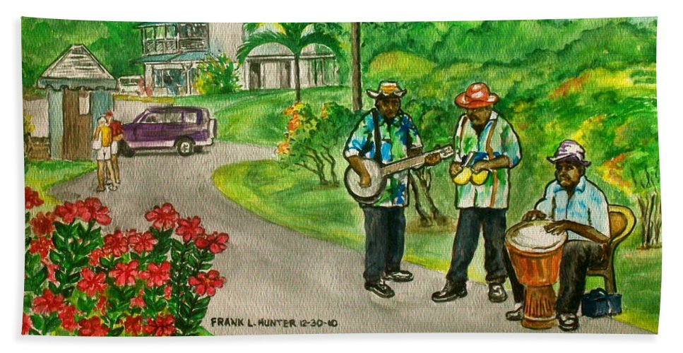 Grenada Island Caribbean Musicians Flowers Palm Car Beach Towel featuring the painting Musicians On Island Of Grenada by Frank Hunter