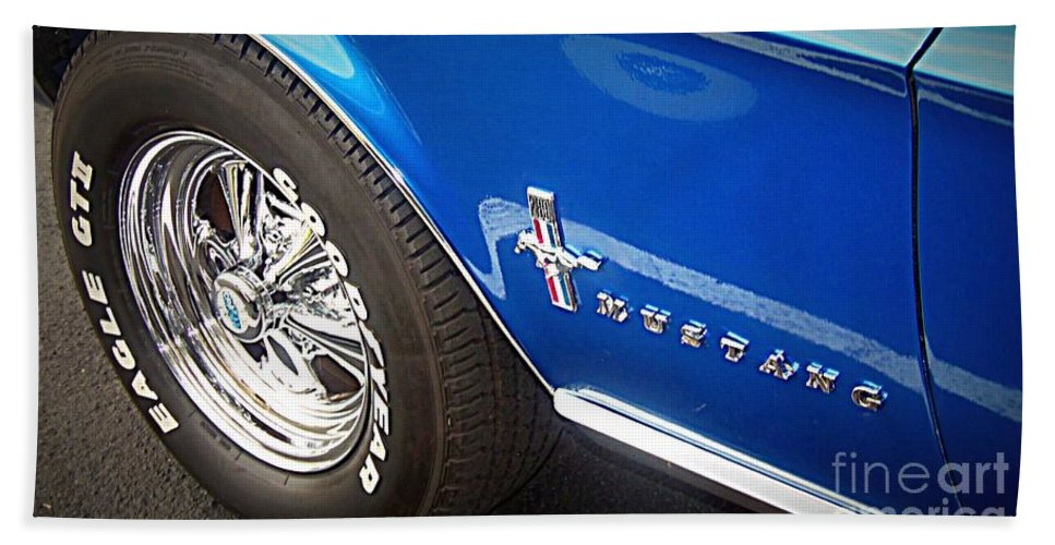 Ford Mustang Beach Towel featuring the photograph Mustang Blue by Bobbee Rickard
