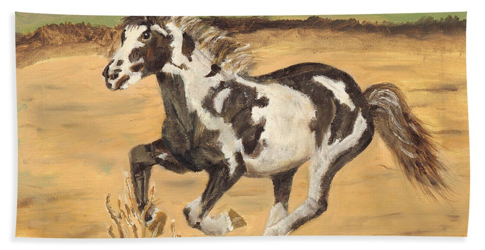 Horse Beach Towel featuring the painting Mustang by Terry Lewey