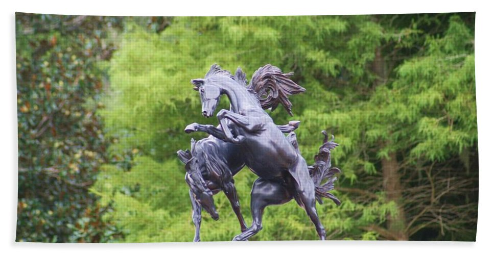 Statue Beach Towel featuring the photograph Mustangs by Chuck Hicks