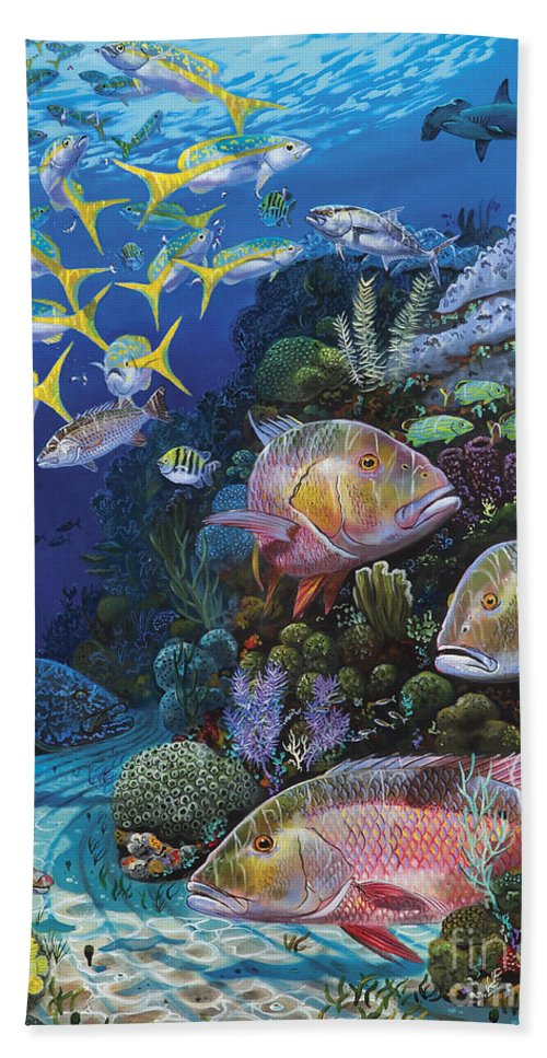 Mutton Beach Towel featuring the painting Mutton Reef Re002 by Carey Chen