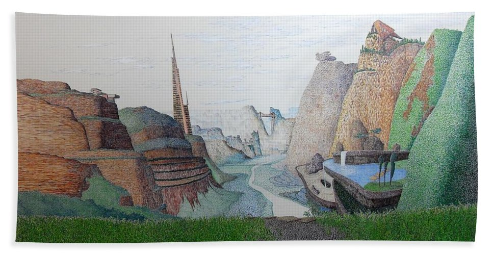 Landscape Beach Towel featuring the painting My Bigger Back Yard by A Robert Malcom
