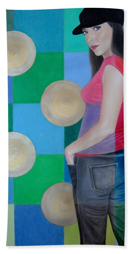 Black Cap Beach Towel featuring the painting My Black Cap by Lynet McDonald