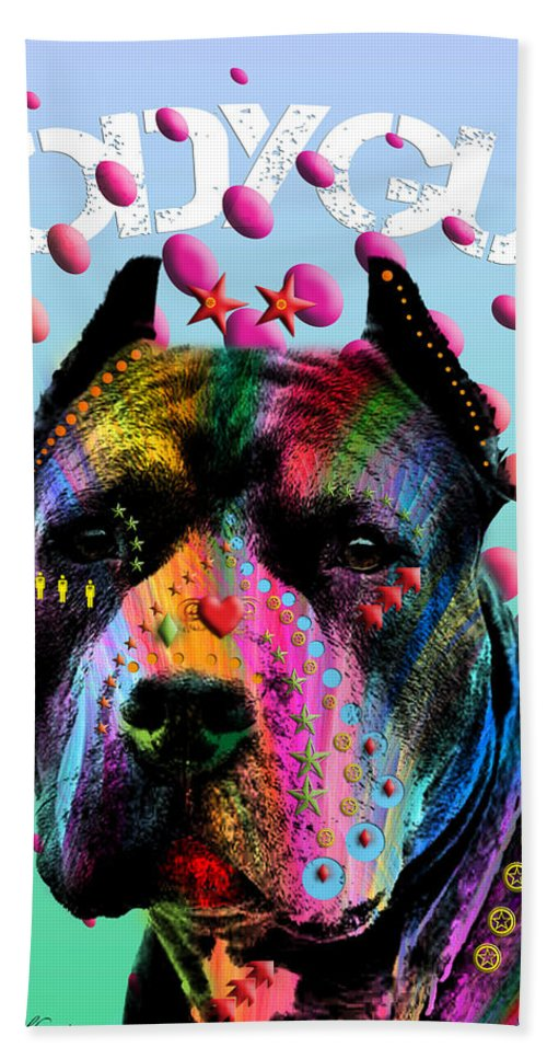 Pop Art Beach Towel featuring the painting My Bodyguard by Mark Ashkenazi