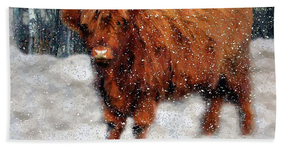 Bull Beach Towel featuring the painting My Feets Are Cold by RC DeWinter