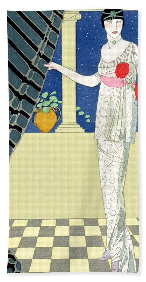 Mes Invites N'arrivent Pas Beach Towel featuring the painting My Guests Have Not Arrived by Georges Barbier