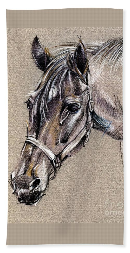 Horse Study Beach Towel featuring the drawing My Horse Portrait Drawing by Daliana Pacuraru