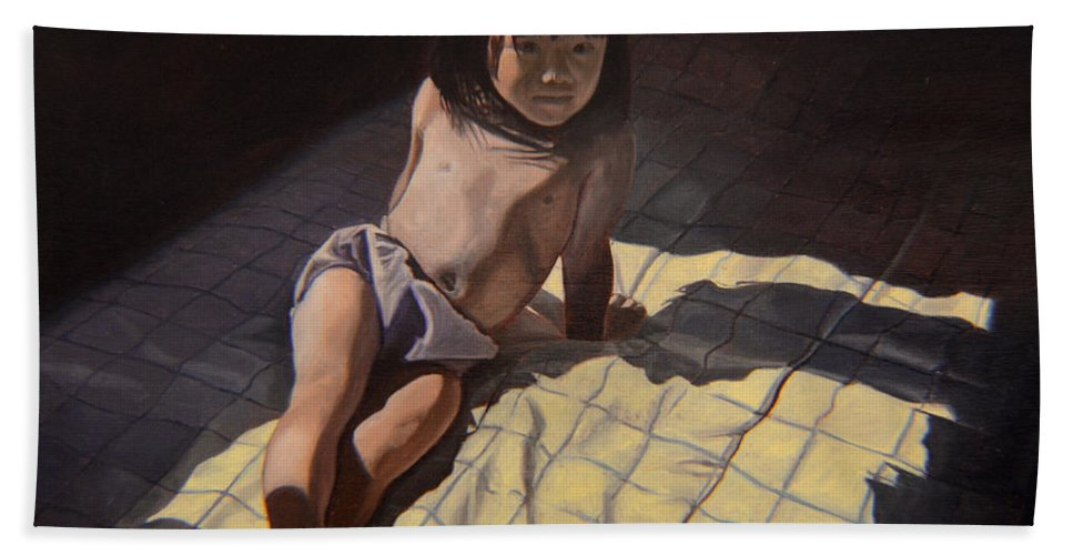 Figure Beach Towel featuring the painting My Little Cheese Cake - Wah Zhee Tah by Thu Nguyen