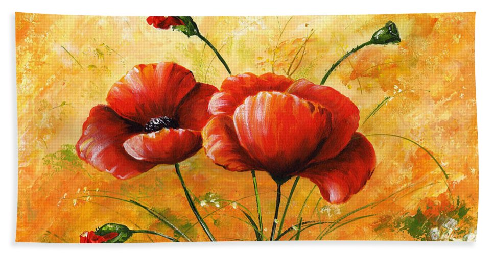 Art Beach Towel featuring the painting My Poppies 047 by Voros Edit