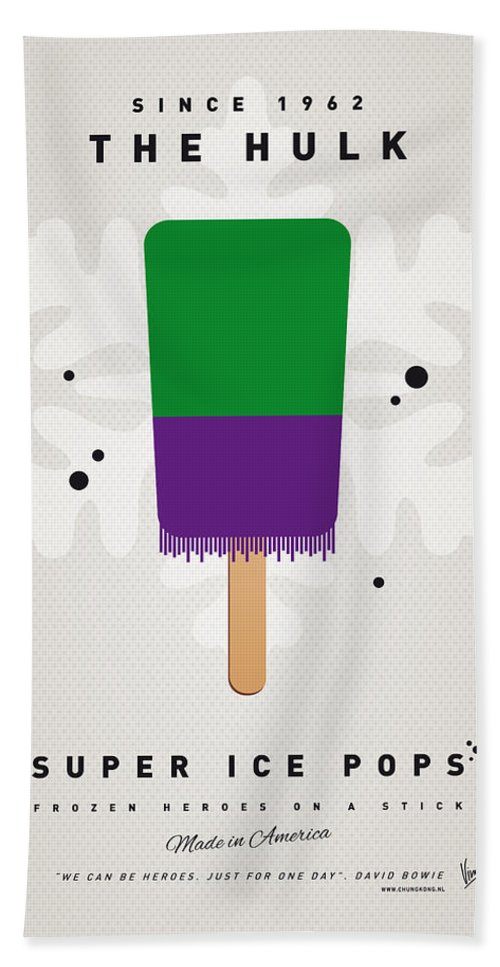 Superheroes Beach Towel featuring the digital art My Superhero Ice Pop - The Hulk by Chungkong Art
