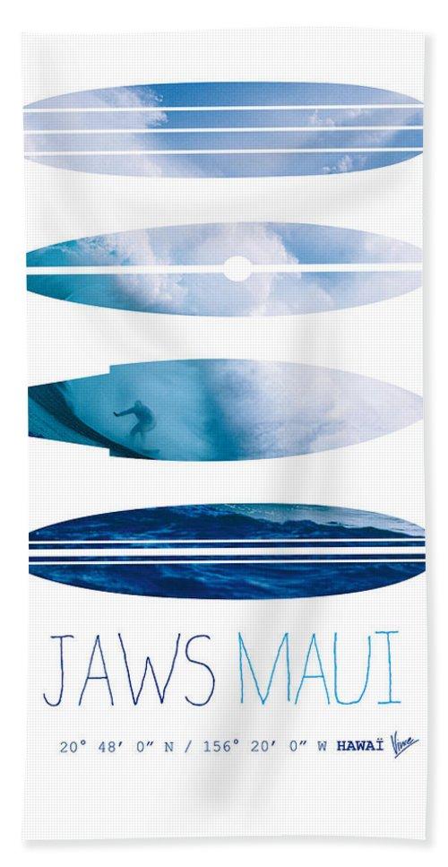 Minimal Beach Towel featuring the digital art My Surfspots Poster-1-jaws-maui by Chungkong Art