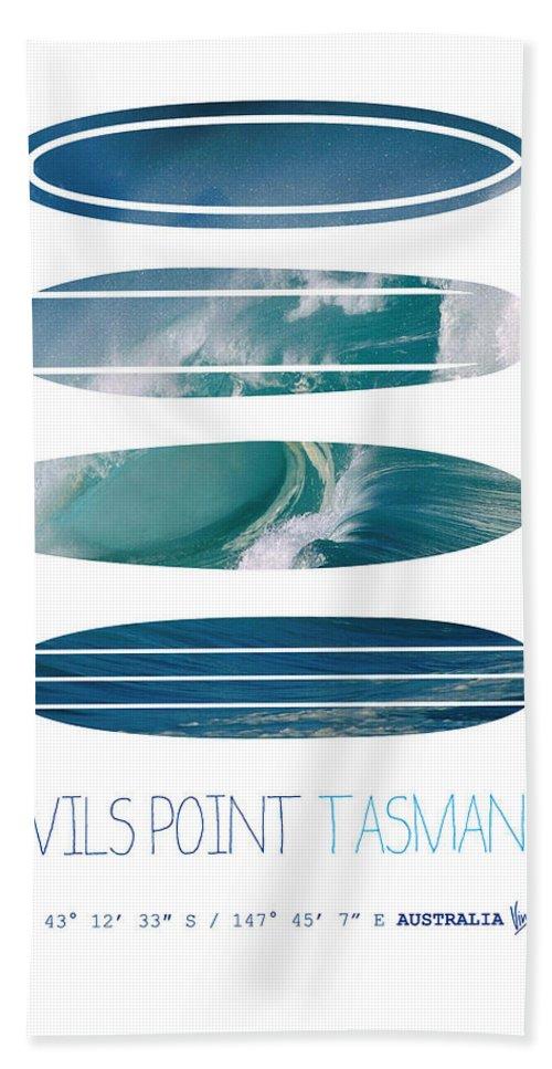 Minimal Beach Towel featuring the digital art My Surfspots Poster-5-devils-point-tasmania by Chungkong Art