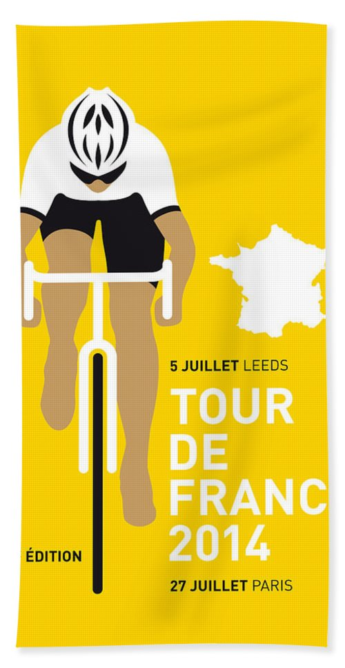 Minimal Beach Sheet featuring the digital art My Tour De France Minimal Poster 2014 by Chungkong Art