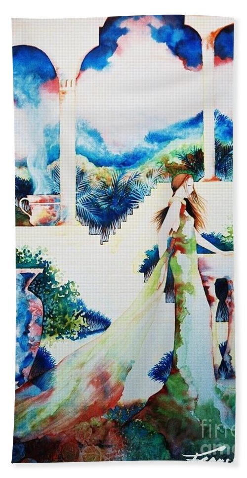 Exotic Beach Towel featuring the painting Mysteries by Frances Ku
