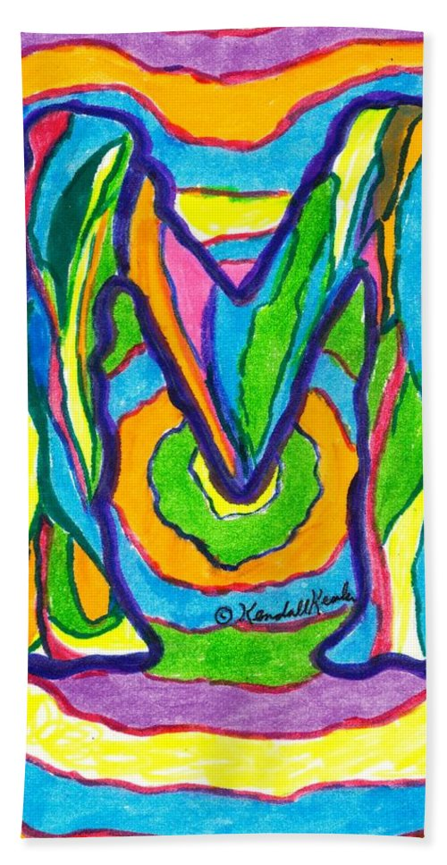 M Beach Towel featuring the drawing Mystic M by Kendall Kessler