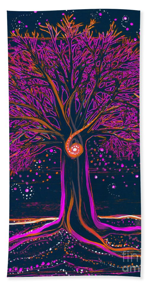 First Star Beach Towel featuring the painting Mystic Spiral Tree 1 Pink By Jrr by First Star Art