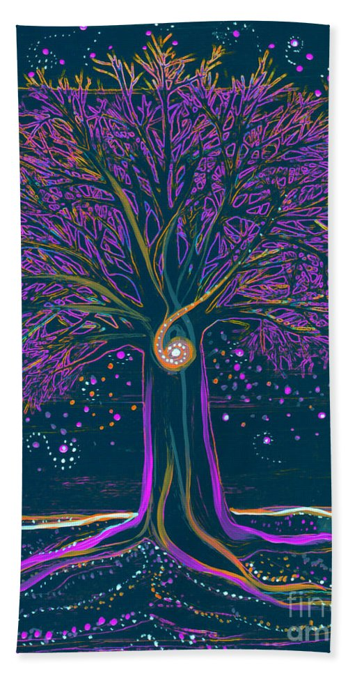 First Star Beach Towel featuring the painting Mystic Spiral Tree 1 Purple by First Star Art