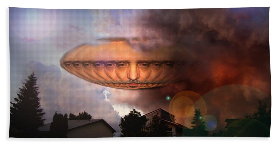 Surrealism Beach Towel featuring the digital art Mystic Ufo by Otto Rapp