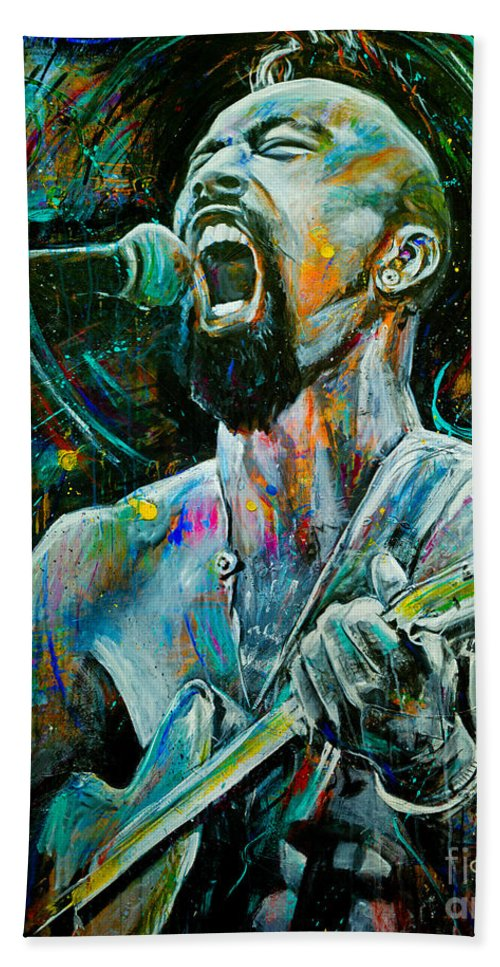 Robyn Chance Beach Towel featuring the painting Nahko by Robyn Chance