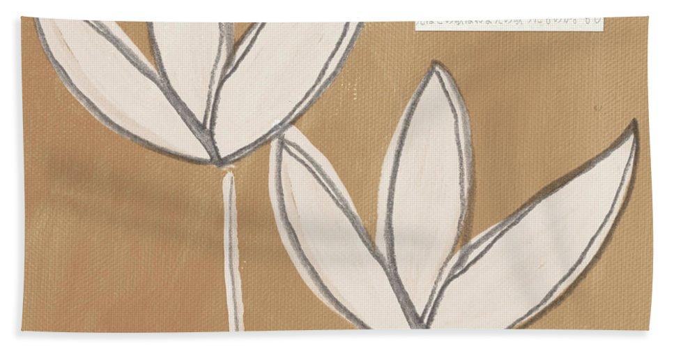 Namaste Beach Towel featuring the painting Namaste White Flowers by Linda Woods