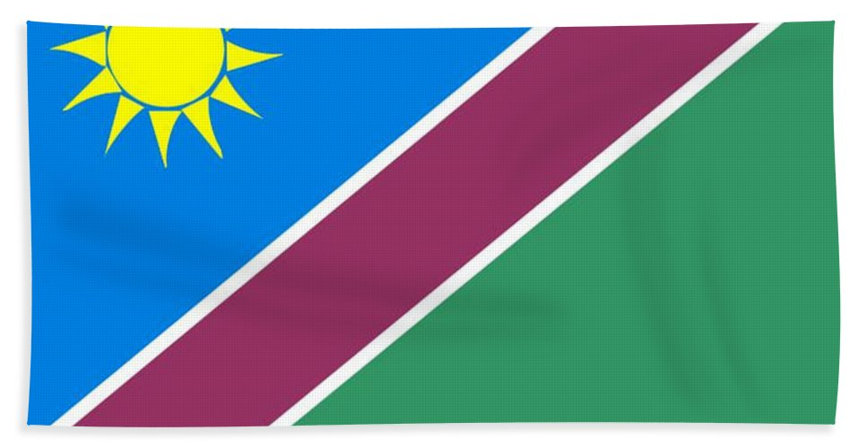 Namibia Beach Towel featuring the digital art Namibia Flag by Frederick Holiday