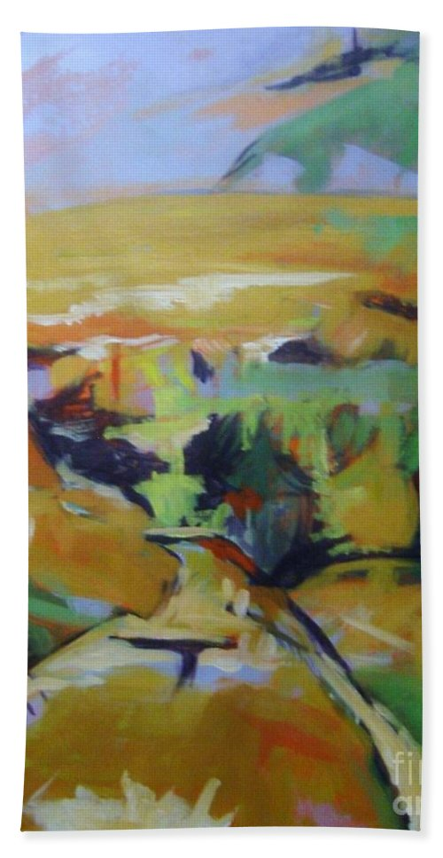Winter Beach Towel featuring the painting Napa Valley Perriwinkle Sky by Rebecca Lou Mudd