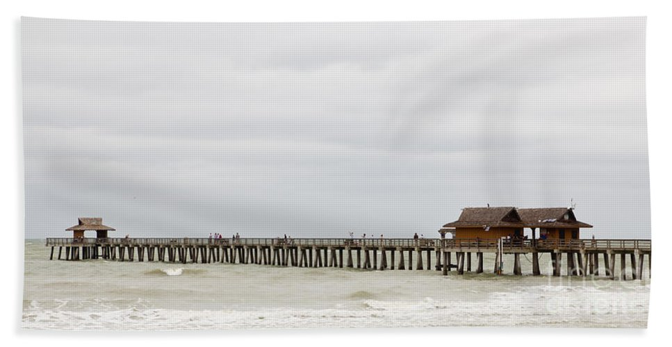 Fishing Beach Towel featuring the photograph Naples Fishing Pier by Les Palenik