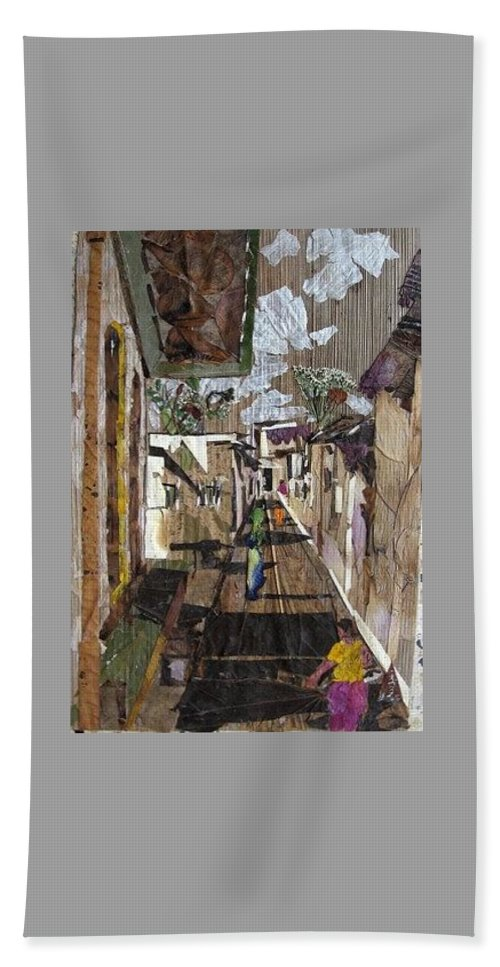 Street Scene Beach Towel featuring the mixed media Narrow Street by Basant Soni