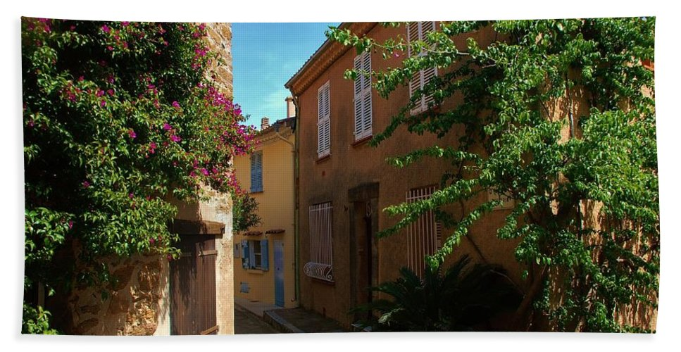 Village Beach Towel featuring the photograph Narrow Street In The Village by Dany Lison