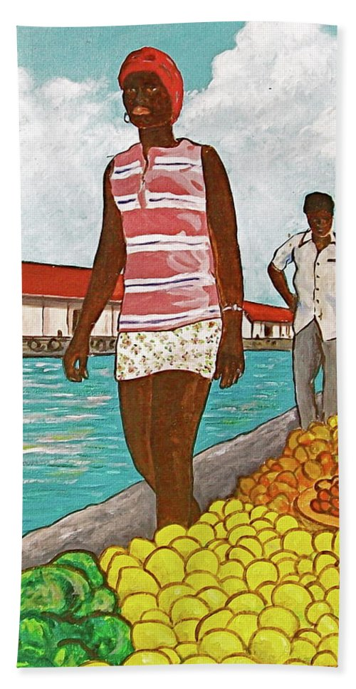 Bahamas Yellow Lemons Cabbage Tall Black Girl Nassau Two Men Waterfront Red Roof Beach Sheet featuring the painting Nassau Woman by Frank Hunter