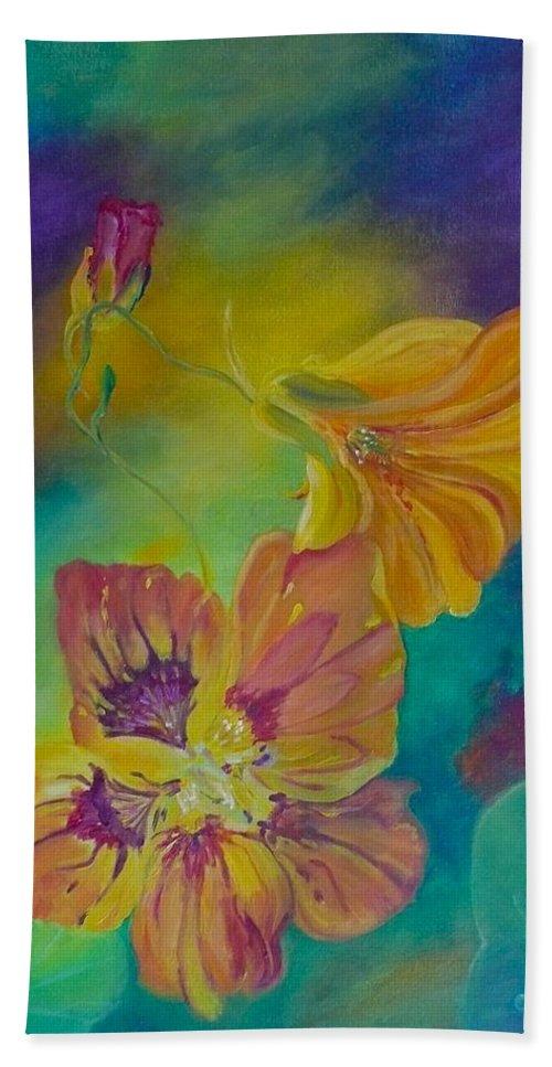 Nasturtium Beach Towel featuring the painting Nasturtium Dream by Anna Ruzsan
