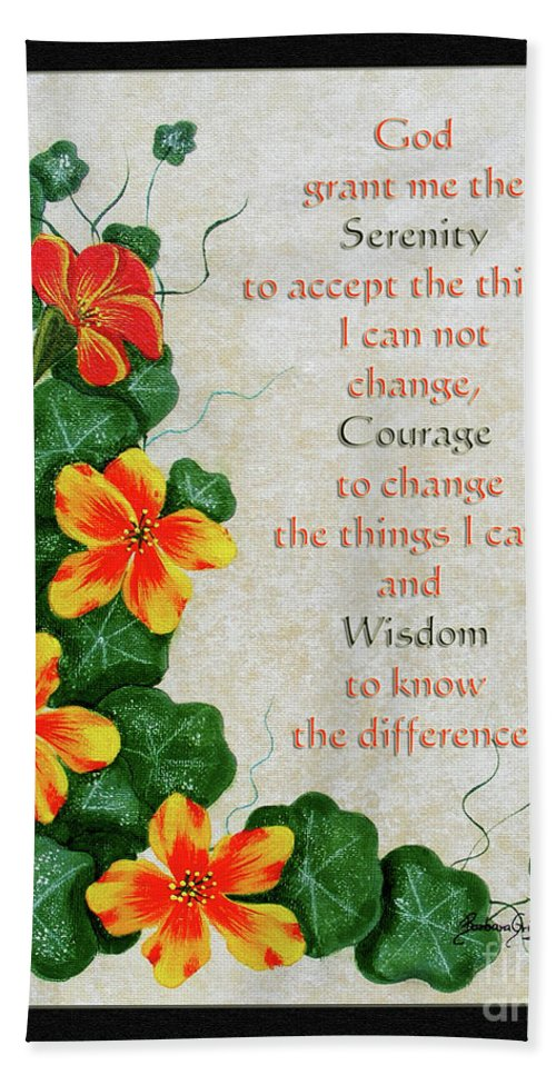 Barbara Griffin Beach Towel featuring the painting Nasturtiums And Serenity Prayer by Barbara Griffin