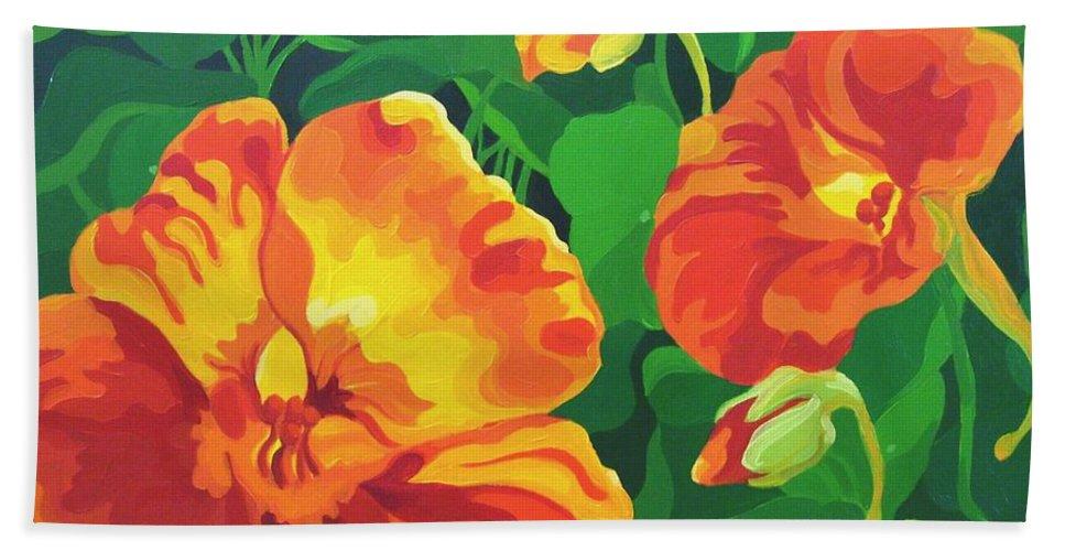 Flower Paintings Beach Towel featuring the painting Nasturtiums by Karen Ilari
