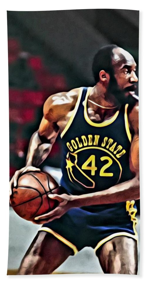 Nate Thurmond Beach Towel featuring the painting Nate Thurmond by Florian Rodarte