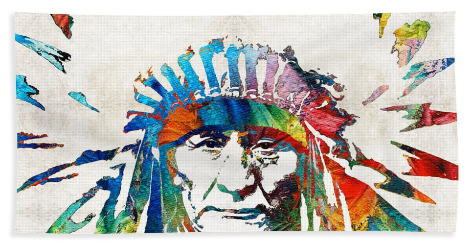 Native American Beach Towel featuring the painting Native American Art - Chief - By Sharon Cummings by Sharon Cummings