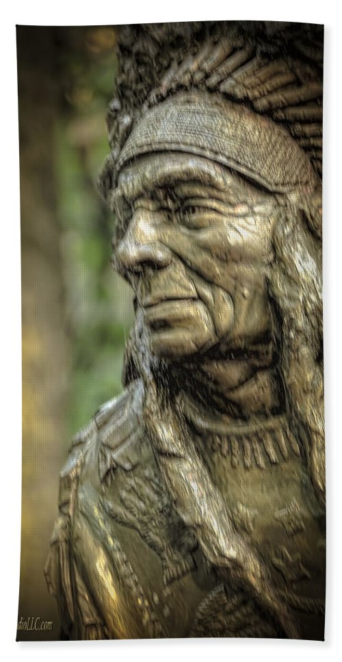 Native American Statue At Niagara Falls State Park Beach Towel featuring the photograph Native American Statue At Niagara Falls State Park by LeeAnn McLaneGoetz McLaneGoetzStudioLLCcom