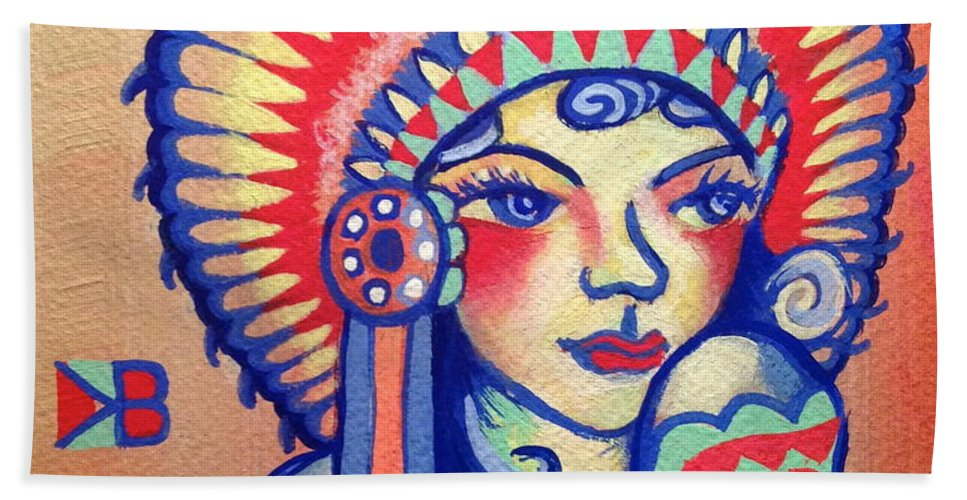 Native Beach Towel featuring the painting Native Girl by Britt Kuechenmeister