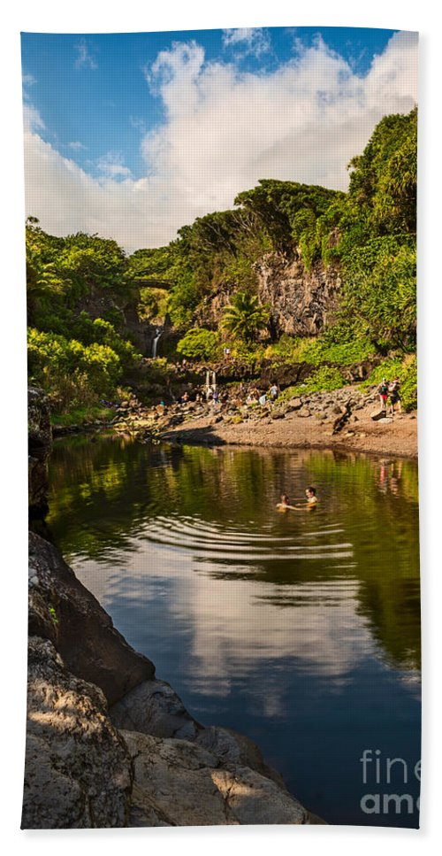 Seven Sacred Pools Beach Towel featuring the photograph Natural Pool - The Beautiful Scene Of The Seven Sacred Pools Of Maui. by Jamie Pham