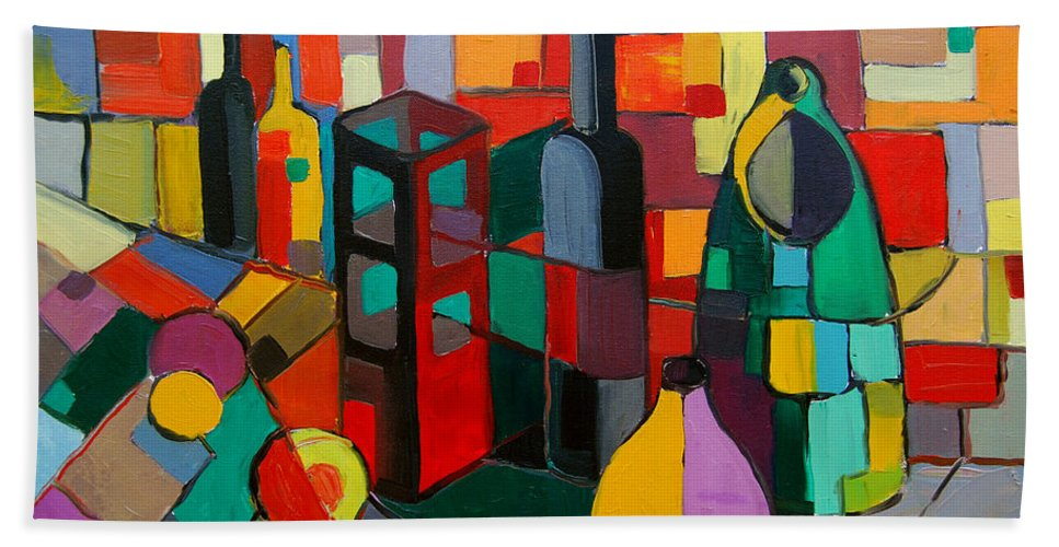 Nature Morte Cubiste Beach Towel featuring the painting Nature Morte Cubiste by Mona Edulesco