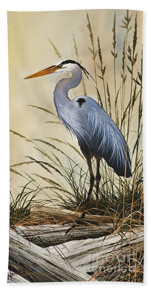 Heron Beach Towel featuring the painting Natures Grace by James Williamson