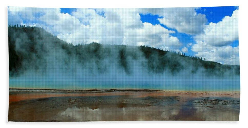 Yellowstone National Park Beach Towel featuring the photograph Natures Hot Tub by Catie Canetti