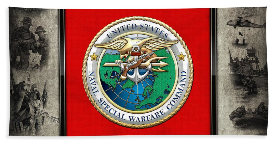 'military Insignia & Heraldry - Nswc' Collection By Serge Averbukh Beach Towel featuring the digital art Naval Special Warfare Command - N S W C - Emblem Over Navy Seals Collage by Serge Averbukh