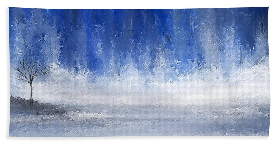 a0cd52c4fa5 Navy Blue Beach Sheet featuring the painting Navy Blue Art by Lourry Legarde