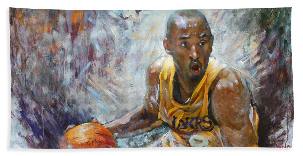 Lakers Beach Towel featuring the painting Nba Lakers Kobe Black Mamba by Ylli Haruni