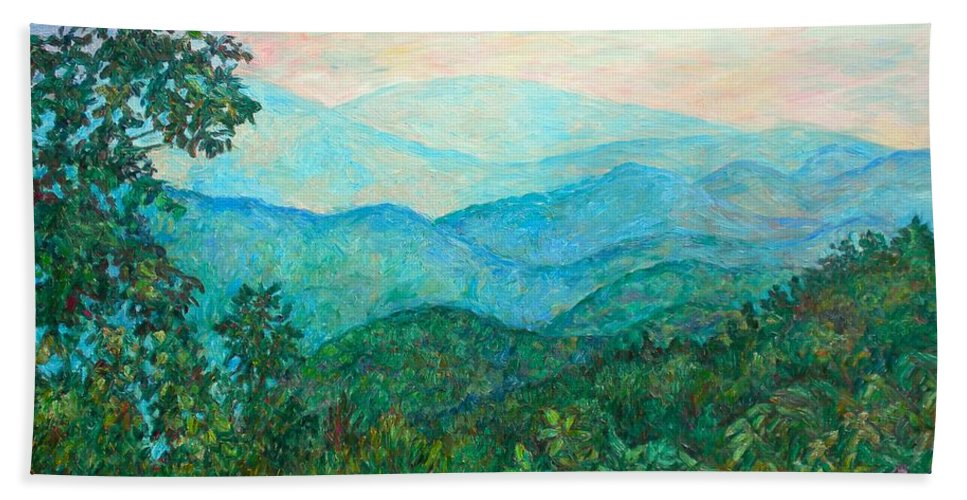 Landscape Beach Towel featuring the painting Near Purgatory by Kendall Kessler